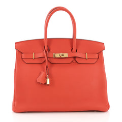 Hermes Birkin Handbag Red Togo with Gold Hardware 35 - Rebag