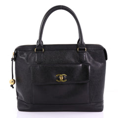 Chanel Model: Vintage CC Front Pocket Briefcase Caviar  Black 38440/119