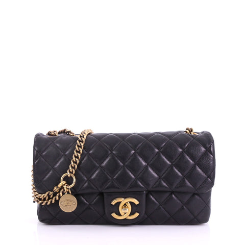 5415e3ff0e7a Buy Chanel CC Crown Flap Bag Quilted Leather Small Black 38440126 – Rebag