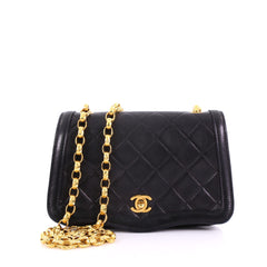 2726d72354ee Chanel Vintage Chain Curved Flap Bag Quilted Leather Small Black 38440152