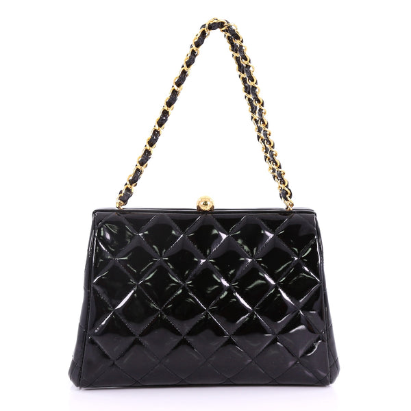 111c490f4edc Buy Chanel Vintage Chain Frame Bag Quilted Patent Small 38440156 – Rebag