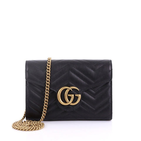 fe4982d47ae Gucci GG Marmont Chain Wallet Matelasse Leather Mini Black 38440162 – Rebag