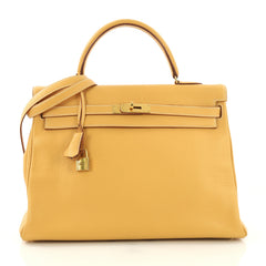 Hermes Kelly Handbag Brown Clemence with Gold Hardware 35 - Rebag