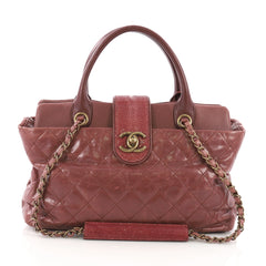 Chanel Model: Bindi Tote Quilted Leather with Stingray Medium  Puprplse 38440/193