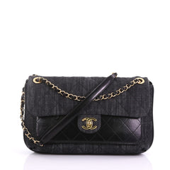 Chanel Front Pocket Flap Bag Quilted Denim with 38440215