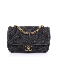 Chanel Triptych Flap Bag Quilted Calfskin Small Black 38440219
