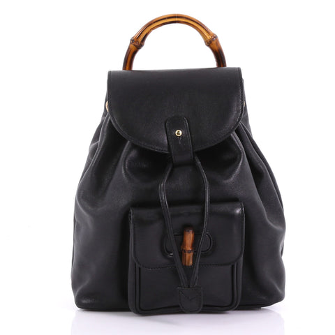 a1c7e475cb17 Buy Gucci Vintage Bamboo Backpack Leather Mini Black 38440226 – Rebag