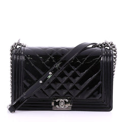 hanel Boy Flap Bag Chevron Patent New Medium Black 3844038