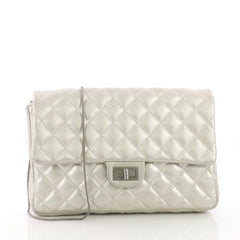 Chanel Convertible Reissue 2.55 Clutch Quilted Metallic Calfskin Silver 3844040