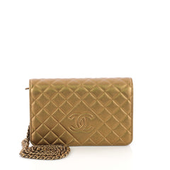 Chanel Diamond CC Wallet on Chain Quilted Lambskin Gold 3844050