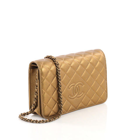 57cb72308e39 Chanel Diamond CC Wallet on Chain Quilted Lambskin Gold 3844050 – Rebag