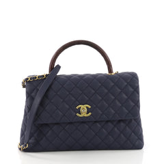 Chanel Coco Top Handle Bag Quilted Caviar with Lizard Medium Blue 3844080