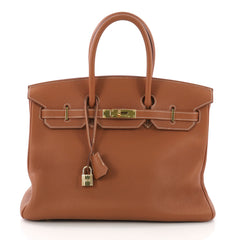 Hermes Birkin Handbag Brown Togo with Gold Hardware 35 - Rebag