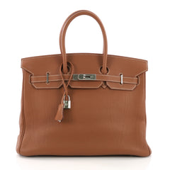 Hermes Birkin Handbag Brown Togo with Palladium Hardware 35 - Rebag