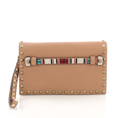 Valentino Rockstud Flap Clutch Beaded Leather Small Neutral 384451