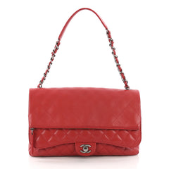 Chanel Zip Multi Flap Bag Quilted Lambskin Large Red 384521