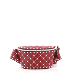 Valentino Rockstud Spike Free Belt Bag Quilted Leather Red 384671