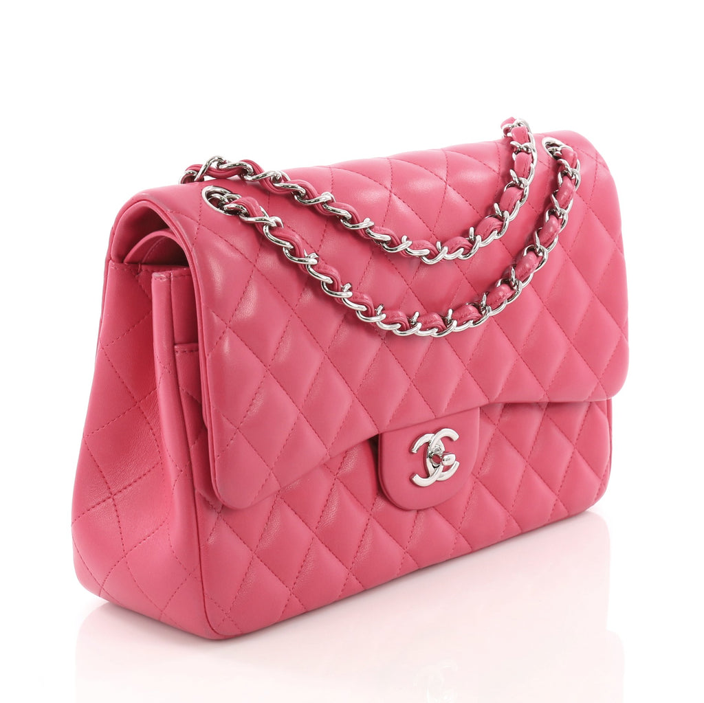 5d4c2192acdce6 Chanel Classic Double Flap Bag Quilted Lambskin Jumbo Pink 3846736 ...