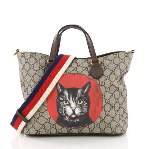 487aa38dc81 Gucci Convertible Soft Tote Mystic Cat Print GG Coated 3846737 – Rebag