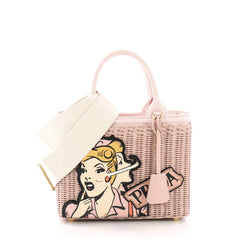Prada Comic Basket Bag Wicker with Canapa and Applique Small Pink 3846754
