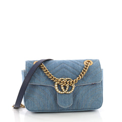 Gucci Pearly GG Marmont Flap Bag Matelasse Denim Mini Blue 3846814
