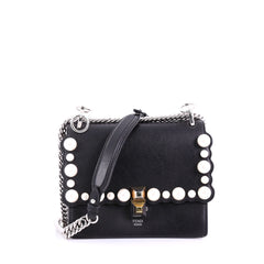 Fendi Kan I Handbag Pearl Embellished Leather Small Black 384685