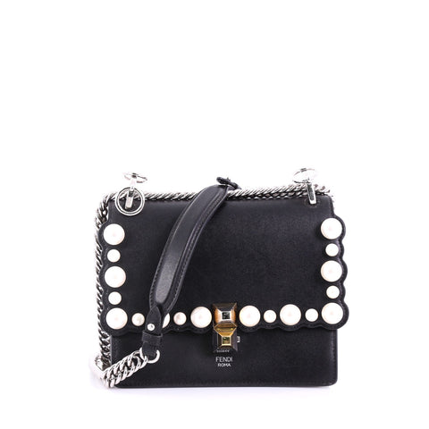 6caf17c21a44 Buy Fendi Kan I Handbag Pearl Embellished Leather Small Black 384685 – Rebag