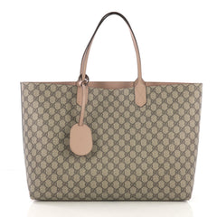 Gucci Reversible Tote GG Print Leather Large Brown