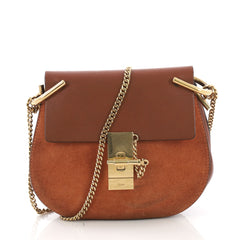 Chloe Drew Crossbody Bag Leather and Suede Mini