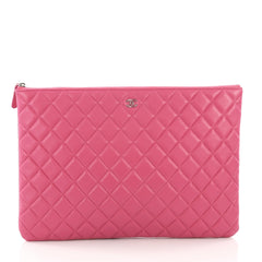 Chanel O Case Clutch Quilted Lambskin Large Pink 38526124