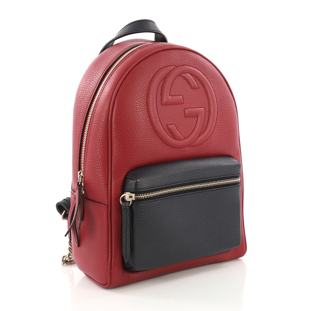 447853119767 Gucci Soho Chain Backpack Leather Red 38526131 – Rebag