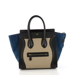 Celine Tricolor Luggage Handbag Leather Mini Black 3852627