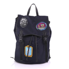 Versace Double Buckle Backpack Patch Embellished Nylon 3852644