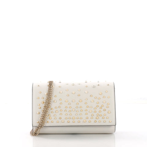 5d78c6375b Christian Louboutin Paloma Clutch Spiked Leather White 3852668 – Rebag