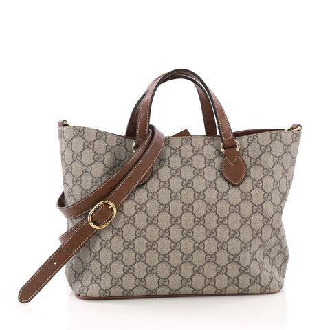 94f60d8344fe Gucci Convertible Soft Tote GG Coated Canvas Small Neutral 3852823 – Rebag