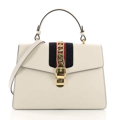 Gucci Model: Sylvie Top Handle Bag Leather Medium White 38528/9