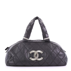 Chanel CC Bowler Bag Quilted Leather Large Black 385301