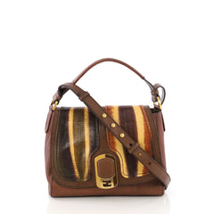 Fendi Anna Flap Bag Lizard and Leather Brown 385561