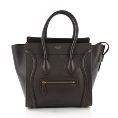 Celine Luggage Handbag Grainy Leather Micro Brown 385631