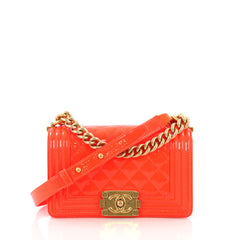 Chanel Boy Flap Bag Quilted Patent Small Orange 3856413