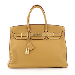 Hermes Birkin Handbag Bicolor Clemence With Gold Hardware 385641