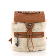 Chanel Mountain Backpack Shearling with Quilted Calfskin 385643