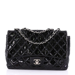 Chanel Classic Single Flap Bag Quilted Patent Jumbo Black
