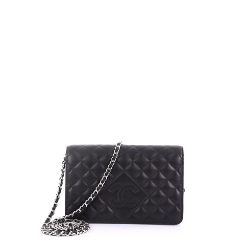 ebfc60256f25 Chanel Diamond CC Wallet on Chain Quilted Lambskin Black 3858650 – Rebag