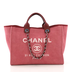 Chanel Deauville Chain Tote Canvas Large Red 3858651