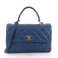 Chanel Trendy CC Top Handle Bag Quilted Lambskin Medium Blue 3859101