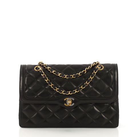 f7c8aaf7056b0b Chanel Vintage Two-Tone CC Flap Bag Quilted Lambskin 38597111 – Rebag