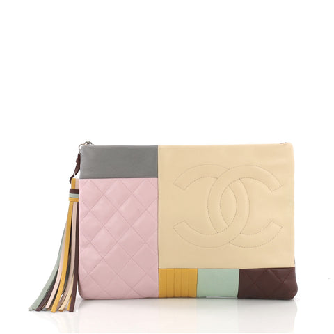 dbc12414591c Chanel O Case Clutch Colorblock Quilted Leather Medium 3859722 – Rebag