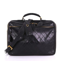 Chanel Vintage Diamond Stitch Weekender Quilted Leather Large Black 3859723