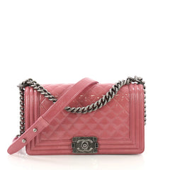 Chanel Boy Flap Bag Quilted Crinkled Patent Old Medium Pink 3859733